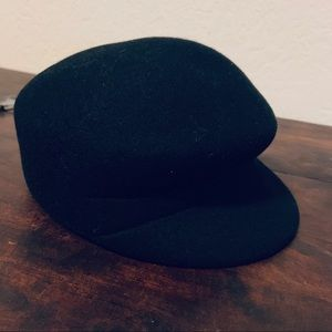 All Black Felt Wool News boy Newsboy Hat